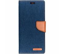 Mercury Goospery Canvas Diary Case Blau für das Samsung Galaxy J4 Plus