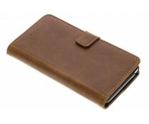 Luxus Leder Booktype Hülle Braun für das Wiko Lenny 2