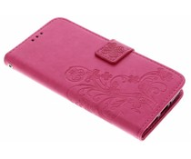 Kleeblumen Booktype Hülle Fuchsia für Motorola Moto G5S