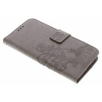 Kleeblumen Booktype Hülle Grau für Motorola Moto G5S