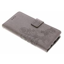 Kleeblumen Booktype Hülle Grau für das Samsung Galaxy S9