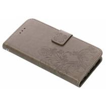 Kleeblumen Booktype Hülle Grau für Huawei P Smart