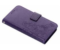 Kleeblumen Booktype Hülle Lila für Samsung Galaxy J6