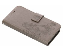 Kleeblumen Booktype Hülle Grau für Samsung Galaxy J6