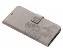 Kleeblumen Booktype Hülle Grau für Nokia 7 Plus
