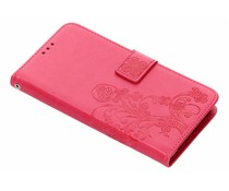 Kleeblumen Booktype Hülle Fuchsia für LG G7