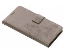 Kleeblumen Booktype Hülle Grau für LG G7