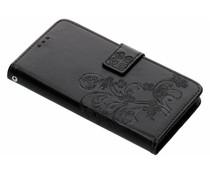 Kleeblumen Booktype Hülle Schwarz für Motorola Moto G6