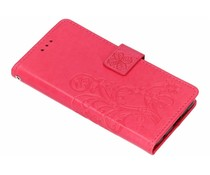 Kleeblumen Booktype Hülle Fuchsia für das Nokia 6.1 Plus
