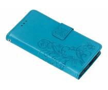 Kleeblumen Booktype Hülle Türkis für das Nokia 6.1 Plus