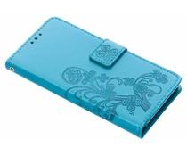 Kleeblumen Booktype Hülle Türkis für Sony Xperia Z5