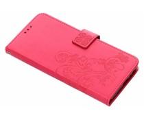 Kleeblumen Booktype Hülle Fuchsia für Samsung Galaxy J6 Plus