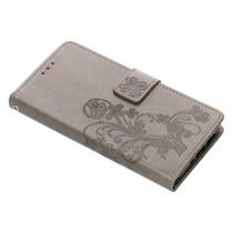 Kleeblumen Booktype Hülle Grau für das Nokia 7.1