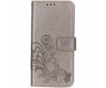 Kleeblumen Booktype Hülle Grau für das Huawei Mate 20