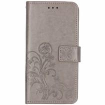 Kleeblumen Booktype Hülle Grau für iPhone Xs Max