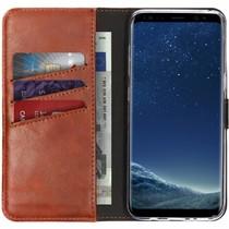 Selencia Echtleder Booktype Hülle Braun für das Samsung Galaxy S8