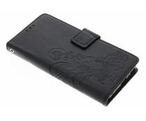 Kleeblumen Booktype Hülle Schwarz für Sony Xperia XA