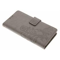Kleeblumen Booktype Hülle Grau für Huawei Y6