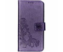 Kleeblumen Booktype Hülle Violett für das Huawei P30 Lite