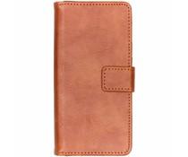 Luxus Leder Booktype Hülle Kastanienbraun für Nokia 5.1 Plus