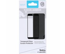 Azuri Tempered Glass Screen Protector Schwarz für Nokia 3.1 Plus