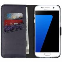 Selencia Echtleder Booktype Hülle Dunkelblau für Samsung Galaxy S7