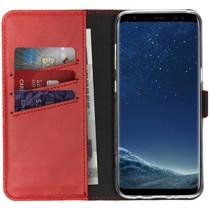 Selencia Echtleder Booktype Hülle Rot für Samsung Galaxy S8