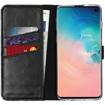 Selencia Echtleder Booktype Hülle Schwarz für das Samsung Galaxy S10
