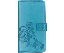 Kleeblumen Booktype Hülle Türkis für Samsung Galaxy A80