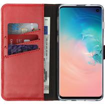 Selencia Echtleder Booktype Hülle Rot für das Samsung Galaxy S10