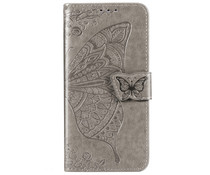 Schmetterling Softcase Klapphülle Grau für das Honor 20
