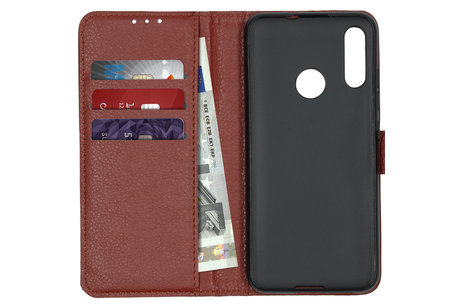 Litchi Buchtyp-Hülle Braun für das Motorola Moto E6 Plus / E6s