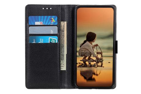 Motorola Moto E6 Plus hülle - Litchi Booktype Hülle Schwarz