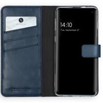 Selencia Echtleder Booktype Hülle Blau Samsung Galaxy S10