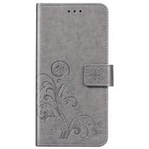 Kleeblumen Booktype Hülle Grau für iPhone SE (2020) / 8 / 7