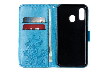 Samsung Galaxy A40 hülle - Kleeblumen Booktype Hülle Türkis