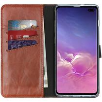 Selencia Echtleder Booktype Hülle Hellbraun Samsung Galaxy S10 Plus