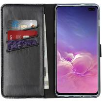 Selencia Echtleder Booktype Hülle Schwarz für Samsung Galaxy S10 Plus