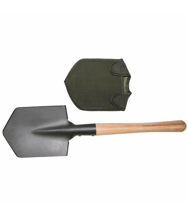 Schep, OD Groen, extra solid, houte handvat, cover