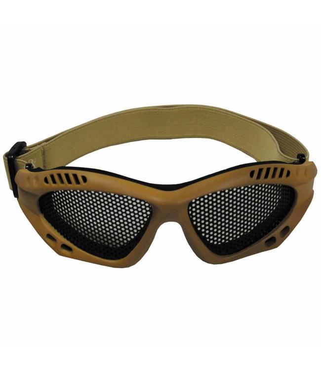 Airsoft Bril, steel mesh, khaki, Deco