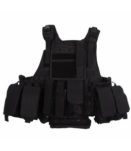 "Tactical vest ""Ranger"" Modular, Zwart, 5 bags and pouches"