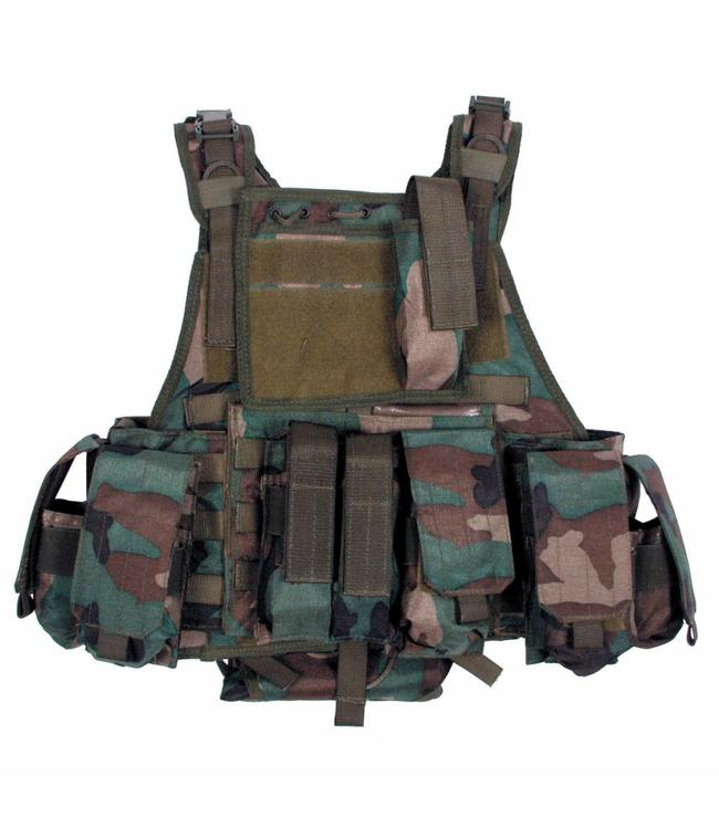 "Tactical vest ""Ranger"" Modu., woodland camouflage, 5 bags and pouches"