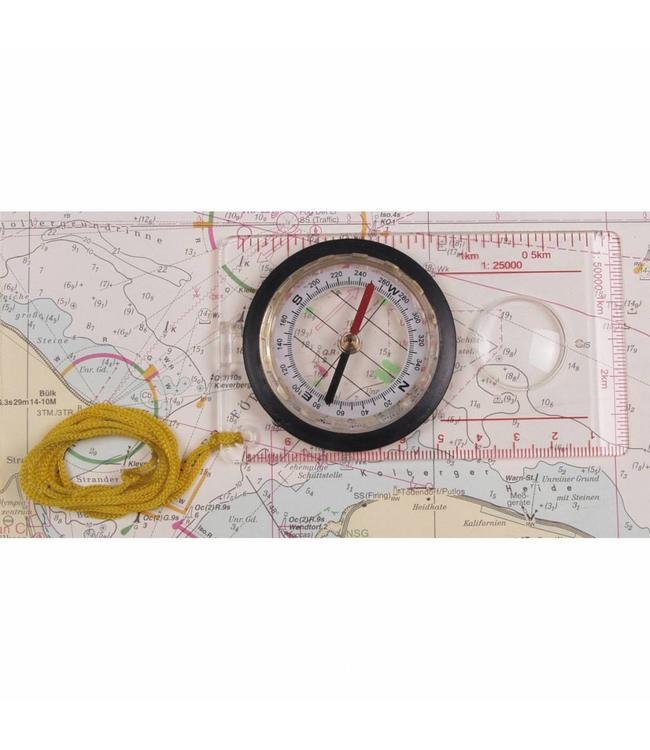 Map Kompas, plastic behuizing, magnifier, measuring device