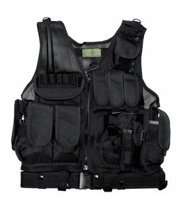 "Tactical vest, ""USMC"", with riem, holster, var. pouches, Zwart"