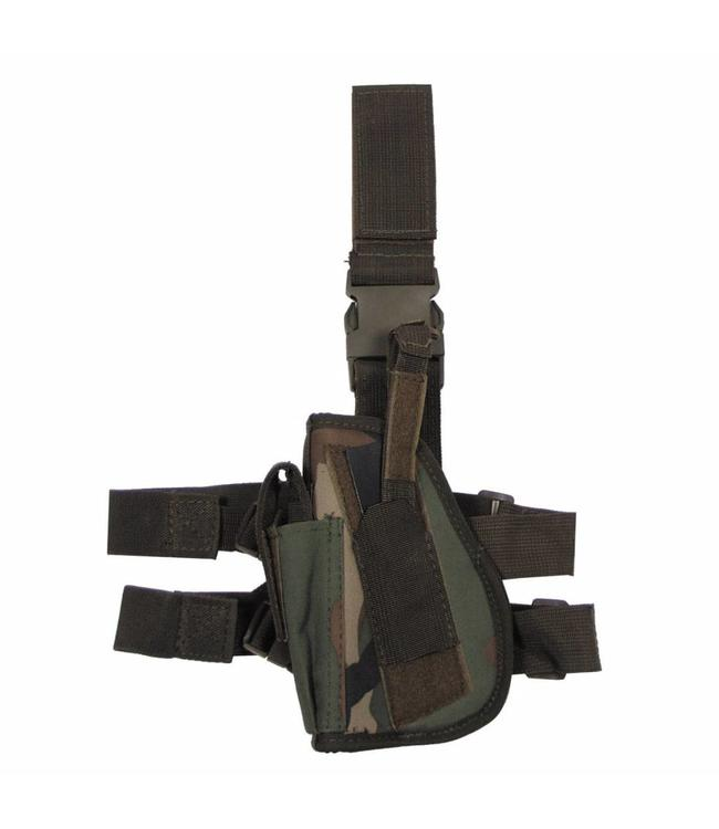 Tactical Holster, woodland camouflage, leg- and belt fixing, left