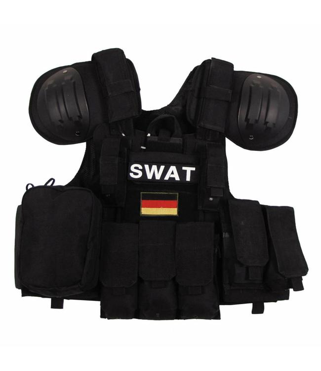 "Tactical vest ""Combat"" Modular, Zwart, bags and pouches, quick remove"