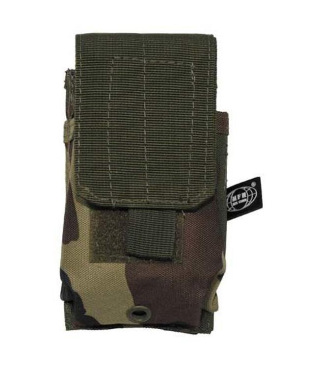"Single Ammu Pouch, ""Molle"", small, woodland camouflage"