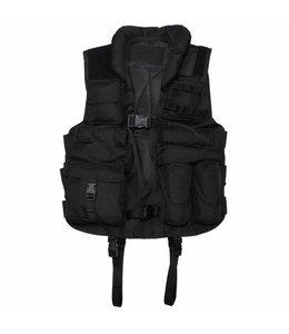 Tactical Vest, met opstaande suede kraag en schouderstukken, Zwart