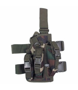 Tactical Holster, woodland camouflage, leg- and belt fixing