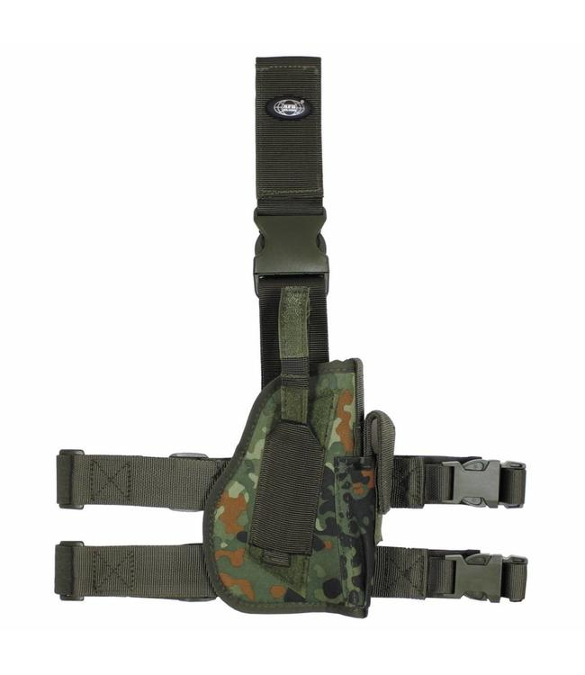 Tactical Holster, BW camouflage, leg- and belt fixing, right